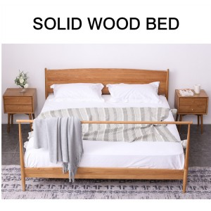 Modern simple solid wood bedroom bed