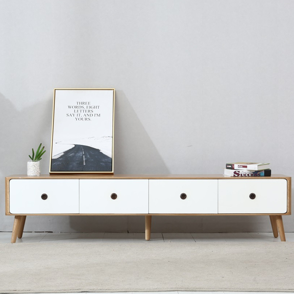 The design of solid wood two-color four-drawer TV cabinet is novel and unique