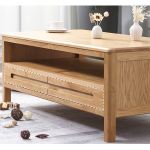 Multi-storage space solid wood coffee table, scientific design makes storage more perfect.