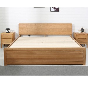 Solid wood bed with storage