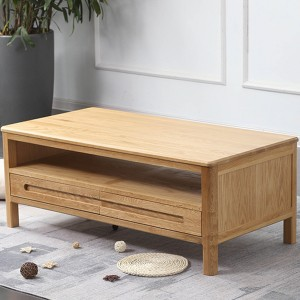 Nordic modern storage living room solid wood coffee table is made of FAS grade white oak.