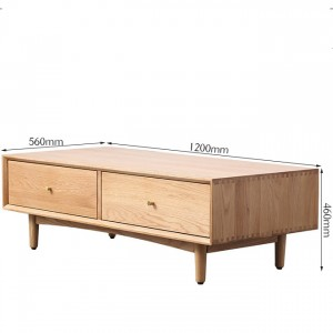 The Nordic simple solid wood four-drawer coffee table is made of natural solid wood, stylish and generous.